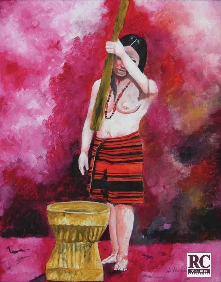 昔時伊哥洛特人婦女在椿米的畫片