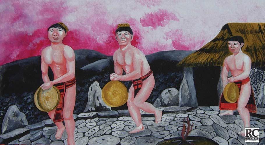 伊戈律部落民眾表演銅鑼舞蹈的畫片
